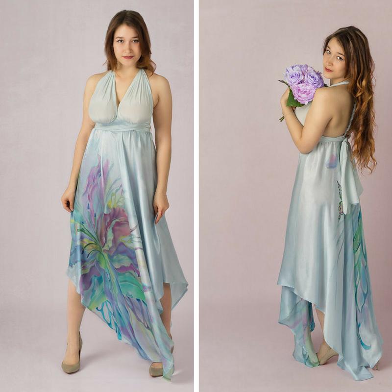 silk painting, silk dress, hand painted dress, prom dress, wedding dress