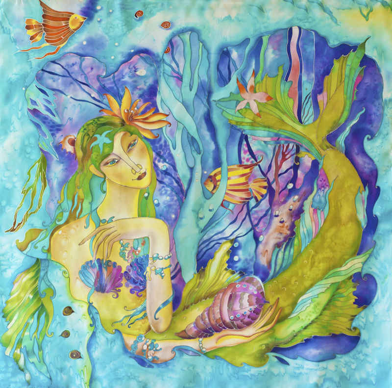 mermaidsilk, silk painting, textile art, silk scarf, hand painted scarf, batik, mermaid scarf